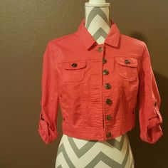 New w/out tags: Cropped Jean Jacket :) New and never worn! No rips, holes, or stains! Bright coral/orange color! Tag says medium, but will fit size 0-4 best :) Purchased from Styles 4 Less for $28, am selling for 45% off! It's just sat in my closet for too long now :p Feel free to ask any questions or make an offer! :) Jackets & Coats Jean Jackets
