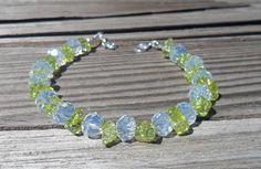 Bracelet Moonstone and Peridot Gemstone Bracelet by DonnaJJewelry, $24.00