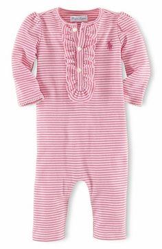 Ralph Lauren Stripe Romper (Baby Girls) available at #Nordstrom