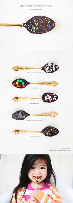 Chocolate Dipped Spoons perfect for adding flavor to any hot drink. Great as party favors or cute gifts. by Le Zoe Musings Chocolate Sticks, Chocolate Diy, Chocolate Spoons, Hot Chocolate Bars, Chocolate Dipped, Chocolate Flavors, Chocolate Coffee, Chocolate Treats, Christmas Treats