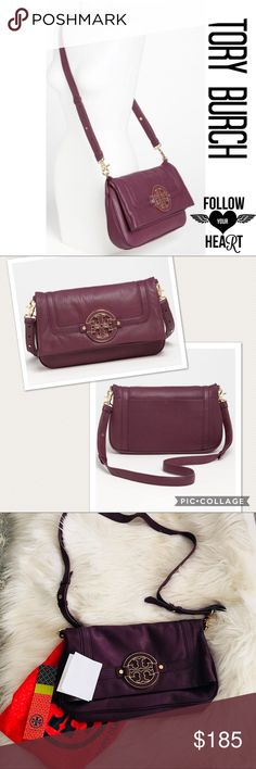 🌻Tory Burch Amanda Foldover/Messenger Handbag Gorgeous Tory Burch Tribe Violet handbag. Purple is the color of the year! The first two pictures show the true color of the handbag. For some reason my camera is going a bit bonkers! 😁 the only flaw on this bag is a small water stain on the back or inside the foldover flap. You can see it in the last picture top right. This handbag is super soft, has the original dust bag as well as the tag and receipt. This is 100% authentic. Tory Burch Bags…