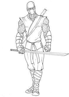 ninja by hyperinsomnia Samurai Drawing, Warrior Drawing, Arte Ninja, Ninja Art, Amazing Drawings, Easy Drawings, Adult Coloring Book Pages, Coloring Books, Drawing Reference Poses