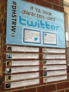 Teen read week 2014 This would be a fun display to have-maybe have the kids submit what they think their favorite characters would say! Library Week, Library Boards, Kids Library, Library Lessons, Library Ideas, Elementary Library, Library Signs, Teen Library Space, Teen Library Displays