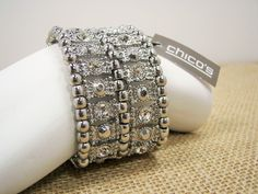 Chicos Sparkling Crystal Silver Tone Wide Stretch Bracelet MSRP $29.95 #Chicos Make a statement with this fabulous sparkling bracelet...$26.99 with free shipping!  #Statement