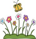 Butterfly and Flowers-free clipart