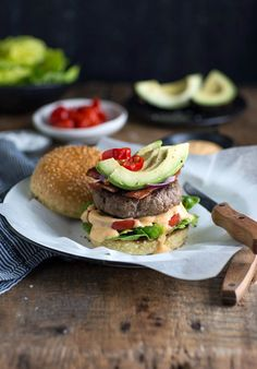 Boerewors burger with avocado, bacon & peppadew adds a South African twist to the recipe South African Recipes, Ethnic Recipes, Burger And Fries, Burgers, Burger Toppings, Fries Recipe, Bean Stew, Food Concept, Hamburgers