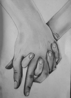 a drawing of intertwined hands