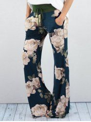 Drawstring High Waisted Floral Palazzo Pants-Cheap Fashion online retailer providing customers trendy and stylish clothing including different categories such as dresses, tops, swimwear. Look Fashion, Autumn Fashion, Cheap Fashion, Fashion Clothes, Fashion Women, High Fashion, Fashion Trends, Cheap Clothes, Clothes For Women