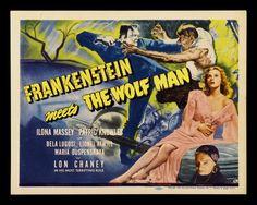 Frankenstein Meets the Wolf Man Retro Film Poster, 1943 - http://retrographik.com/frankenstein-meets-the-wolf-man-retro-film-poster-1943/ - classic, film, frankenstein, ghost, horror, movie, retro, thriller, vintage