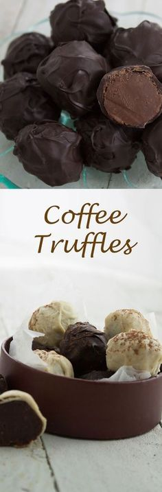 Coffee truffles! Coffee flavoured truffles with a hint of Kahlua, hand rolled in dark or white chocolate. A perfect gift or treat! Candy Recipes, Sweet Recipes, Baking Recipes, Dessert Recipes, Rub Recipes, Dessert Food, Fudge Recipes, Just Desserts, Delicious Desserts