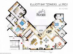Artists sketch floorplan of Friends apartments and other famous TV shows | Mail Online