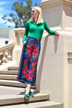 zara floral culotte pants, green sweater, green fringe heels // thestylesafari.com
