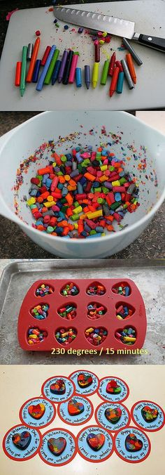use leftover crayons to make heart shaped crayons for kids class!  great candy alternative