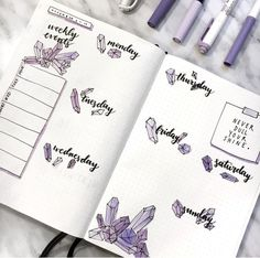 Gorgeous crystal bullet journal spread!