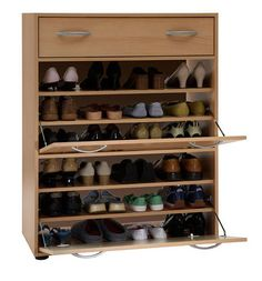 { take a book shelf, and use old cabinet doors for the front, either opening on hinges or turned sideways so that they fold out as a shoe organizer Shoe Storage Cupboard, Cabinet Shelving, Shoe Storage Cabinet, Storage Cabinets, Shelves, Cupboards, Stair Storage, Old Cabinet Doors, Diy Kleidung