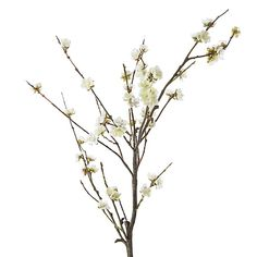 White Cherry Blossom Artificial Flower Stem | Crate and Barrel