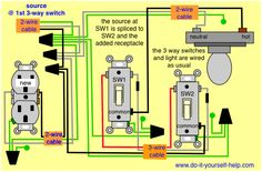 3 way receptacle wiring diagram electronics wiring pinterest 3 wire outlet wiring diagram 3 way switch wiring diagrams do it yourself help com