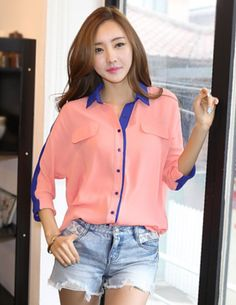 Large Size 2 Colors Turn-down Collar Splicing Chiffon Long Blouse _Blouses_Tops_Wholesalekingdom.net