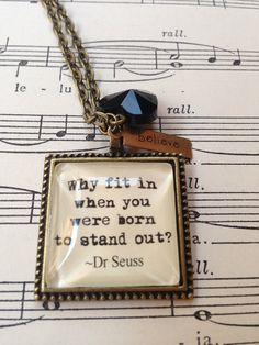 Dr Seuss why fit in quote pendant