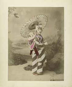 Japanese girl with parasol, and baby on her back. 189-?