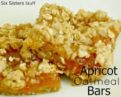 """Six Sisters Apricot Oatmeal Bars.  These taste like a moist and delicious cereal bars.  A perfect """"grab n go"""" breakfast or snack!"""
