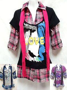Next Era Fashion juniors Layered look shirt and scarf 2pc set S M L XL NEW  #neweracouture #set #Casual