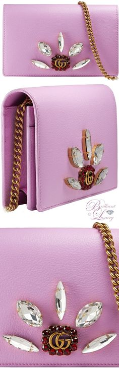 Brilliant Luxury ♦ Gucci leather mini chain bag with double G and crystals