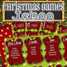 ★ PRINTED VERSION - http://etsy.me/1oQF7S2  Celebrate the holidays with this fun and festive Christmas Taboo game. Purchase includes 32 unique playing
