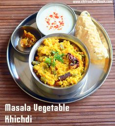 North Indian style masala khichdi recipe with vegetables, rice and moong dal in a pressure cooker. Gujarati Recipes, Indian Food Recipes, Ethnic Recipes, Gujarati Food, Vegetable Recipes, Vegetarian Recipes, Cooking Recipes, Rice Recipes, Indian Style