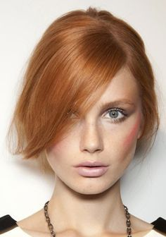 red hair, blush and nude lips