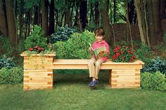 Give an empty corner of your yard an all-in-one eye pleaser with a bench built to contain beautiful flowers. See how rot-resistant cedar lumber and lap joinery safeguard the structure against pressure from tree roots