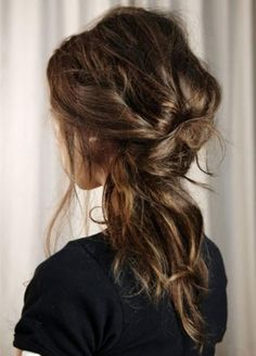 Half up and half down hairstyles, Nice messy brown hairstyle, easy, natural and cute~