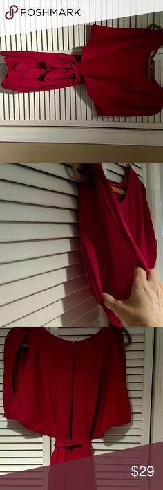 Red silk dress Beautiful red silk dress. Open arms. Slit back. Self belt Jennifer hope Dresses Midi