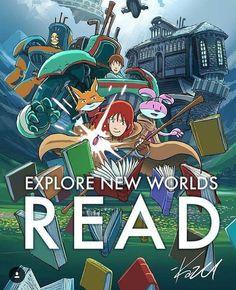 Oppdag nye verdener - les! Plakat av amulettpappa Kazu Kibuzi i anledning verden bokdag ❤️. #denmådulese #amuletten #boktips #fontiniforlag