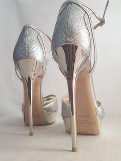 Jimmy Choo Laurita 135 Glittered Metallic Leather Platform Sandals, Silver sz.39