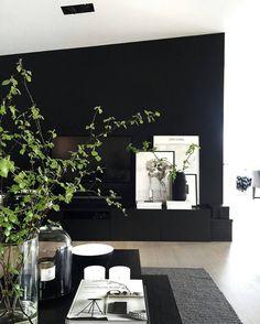 Bringing some spring inside too🌿👌🏻 Black Accent Walls, Black Walls, Home Living Room, Living Room Designs, Living Room Decor, Interior Design Plants, Decoration, Minimalist Home, Spring