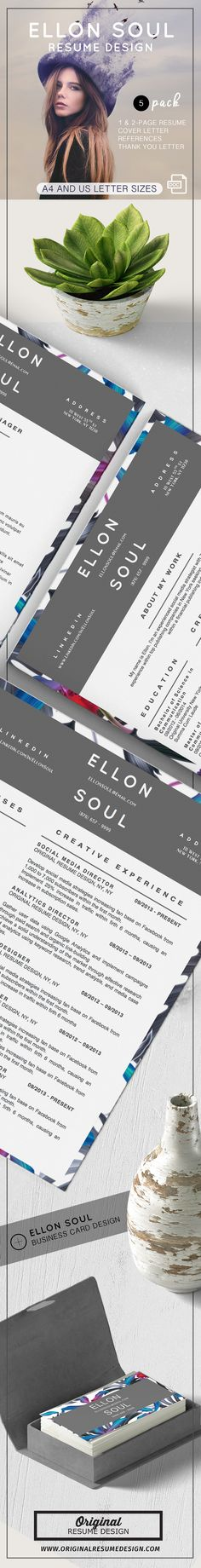 Beautiful and modern resume design. Ellon Soul features 5 templates for Microsoft Word: 1 and 2 Page resume templates, matching cover letter, references, and thank you letter. All templates come in two sizes: A4 and U.S. Letter size.