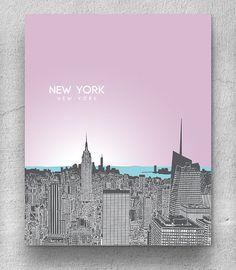 Skyline City Art / New York Skyline / Home Office Art Poster / 8x10 Print Any City Available