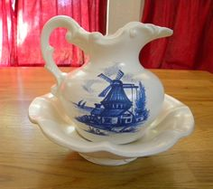 McCoy pitcher and bowl Dutch windmill design by TreasuresFromTexas, $20.00