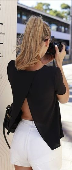 open back shirt with mini skirt