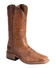 Boulet Tooled Calf Cowgirl Boots - Square Toe available at Brown Cowgirl Boots, Custom Cowboy Boots, Cowboy Boots Women, Western Boots, Head Over Boots, Bota Country, Country Boots, Westerns, Horse Boots