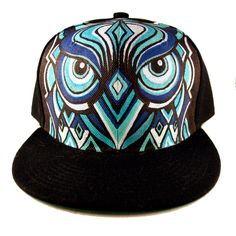 Turquoise+handpainted+owl+hat+by+MANIKapparel+on+Etsy