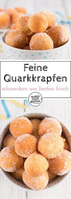 Zuckersüße kleine Quarkkrapfen, die nicht nur zu Silvester oder Fasching schmecken. Die Quarkbällchen sind schnell gemacht und viel besser als vom Bäcker!