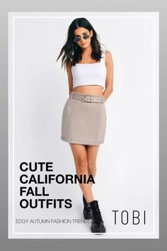 Cute California fall outfits including this trendy faux suede skirt for women from TOBI. The best place to buy affordable autumn trendsetting edgy clothing and attire for ladies. Shop top fall fashion trends for teens, women, and juniors. #shoptobi #fallfashion #falltrends #falloutfits #autumnfashion #womensfashion #californiafashion #bodyconskirts #skirts #miniskirts #skirtoutfits Edgy Outfits, Skirt Outfits, Fashion Outfits, Autumn Fashion Women Fall Outfits, Fall Fashion Trends, Fall Skirts, Mini Skirts, Edgy Clothing, Street Style Trends