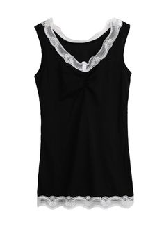 Cheap Sexy Lace V Neck Sleeveless Slim Tank Top for Sale - Chicuu.com