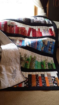 Bookshelf quilt Hand quilted and Embroidered for my 10 year old son. 3rd place ribbon winner WV! Made by Jamie Tomaro