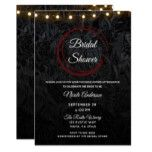 Modern Chic Black Red Wine Rings Bridal Shower Card