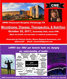 CME Microbiome, Disease, Therapeutics, Nutrition, Oct 25, 2017. Learn its association to chronic disease which is attributed to 2/3 of Allegheny County, Pgh PA deaths. Learn its assoc to hypertension, heart disease (this causes 30% of Allegheny County deaths which is higher compared to the state of PA), diabetes, metabolic syndrome, obesity, cognition, Alzheimer's, IBD, IBS, MS... Learn what modulates the microbiome towards health or disease