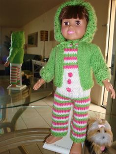 Ladyfingers - AG doll - Bulky Knit Jacket with Hood Knitted Doll Patterns, Doll Dress Patterns, Knitted Dolls, Knitting Patterns, Free Knitting, Crochet Patterns, Knitting Dolls Clothes, Ag Doll Clothes, Crochet Doll Clothes