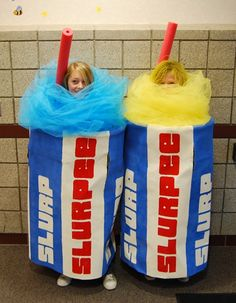 "Slurpee halloween costumes!  ||  homemade kids halloween costume ideas- (the pool noodle straws and tulle slurpee / froth)... could also do amilkshake or smoothie ""cup"" too..."